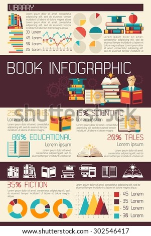 Book magazines and education infographics set with charts vector illustration - stock vector