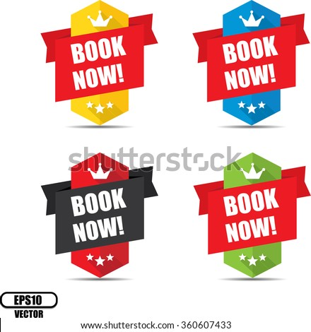 Book now label and sign - Vector illustration - stock vector