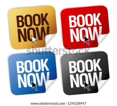 Book now stickers set. - stock vector