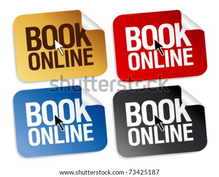 Book online stickers set. - stock vector