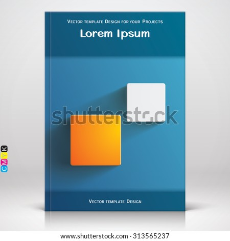Book or brochure blue cover design with two square elements - stock vector