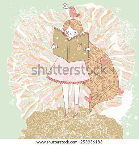 Book reading princess in pastel colors. Vector card with cute girl reading fairy book. Cartoon spring card - stock vector