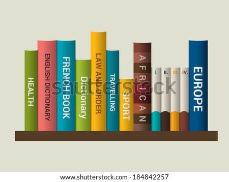 Book shelf. Vector illustration. Bookstore indoor. - stock vector