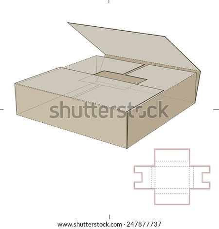 Book Shipper Package with Die Cut Template - stock vector