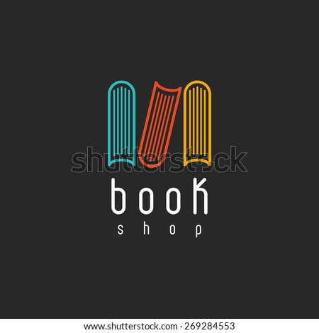 Book shop logo, mockup of sign literature store, design library icon - stock vector