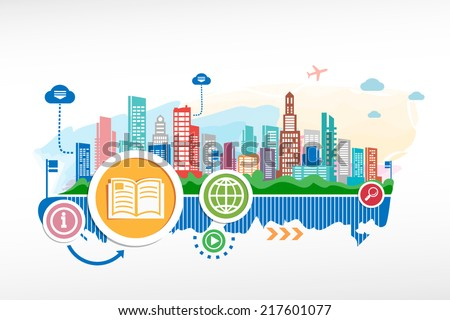 Book sign icon and cityscape background with different icon. Design for the print, advertising. - stock vector