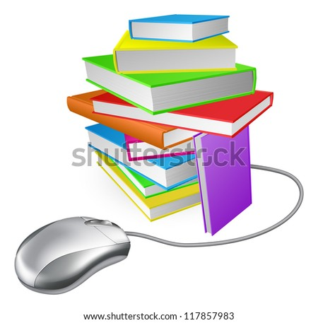 Book stack computer mouse concept. Could be for online library, ebooks, or internet e learning or distance learning - stock vector