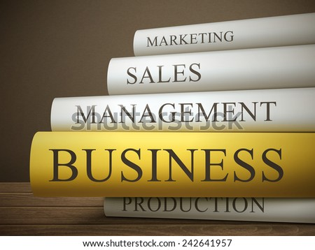 book title of business isolated on a wooden table over dark background - stock vector