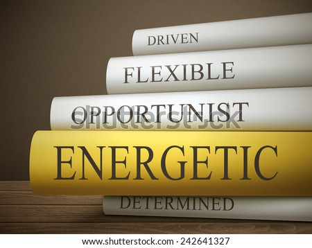 book title of energetic isolated on a wooden table over dark background - stock vector