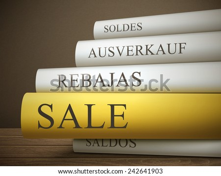 book title of sale isolated on a wooden table over dark background - stock vector