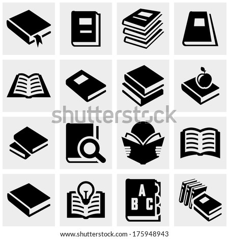 Book vector icons set on gray  - stock vector