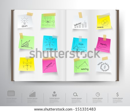 Book with drawing charts and graphs business strategy plan concept idea on paper sticker, Vector illustration template design - stock vector
