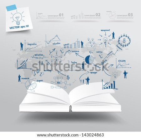 Book with drawing charts and graphs business strategy plan concept idea on world map, Vector illustration template design - stock vector