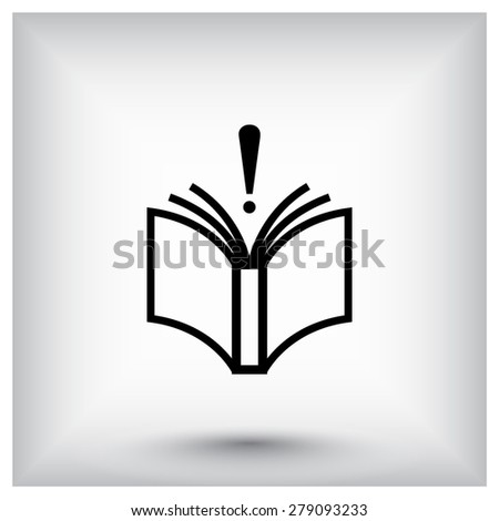 Book with exclamation mark sign icon, vector illustration. Flat design style  - stock vector
