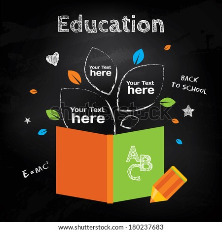 Book with leaves and pencil info graphic about education on blackboard background with chalk drawn elements. Vector modern illustration - stock vector