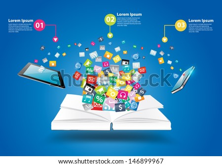Book with mobile phones and tablet computer PC, With cloud of colorful application icon business software and social media networking idea concept, Vector illustration modern template design - stock vector