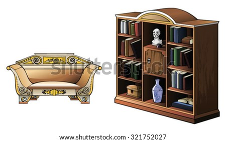 Bookcase and sofa of XIX century, vector illustration - stock vector