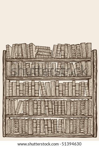 Bookcase with lots of books - stock vector
