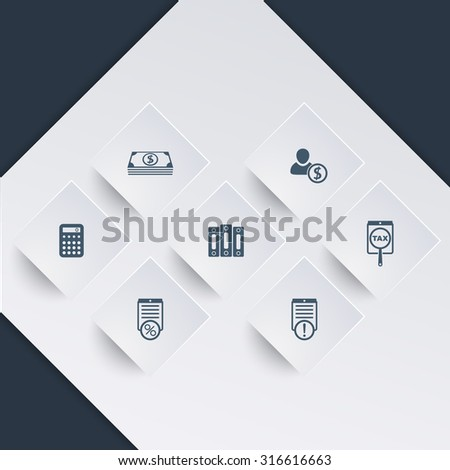 Bookkeeping, finance, payroll icons on square shapes, vector, eps10 - stock vector