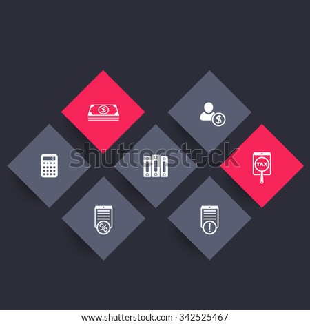 Bookkeeping, finance, payroll rhombic icons, vector illustration - stock vector