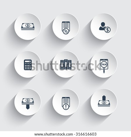 Bookkeeping, finance, payroll round icons, vector, eps10 - stock vector