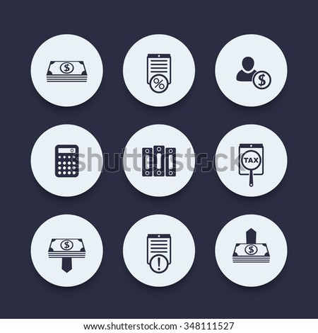 Bookkeeping, finance, payroll round icons, vector illustration - stock vector