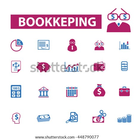 bookkeeping icons - stock vector