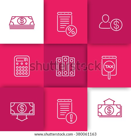 Bookkeeping line icons, payroll icon, rates, finance, tax line icons on squares, vector illustration - stock vector