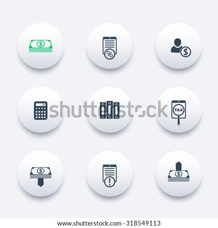 Bookkeeping, payroll, tax round icons, vector, eps10 - stock vector