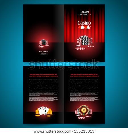 booklet catalog brochure folder casino american roulette money game red black background - stock vector
