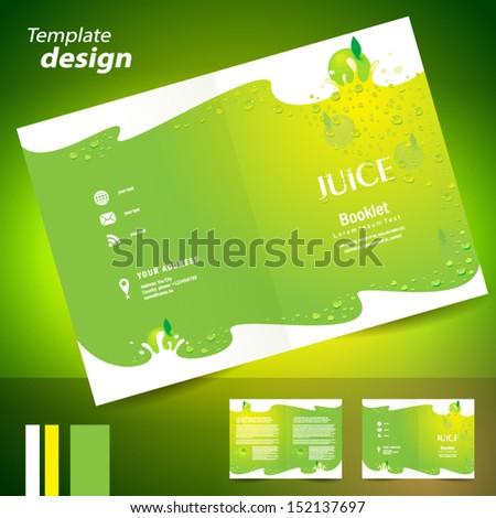 booklet catalog brochure folder juice fruit drops liquid apple green background - stock vector