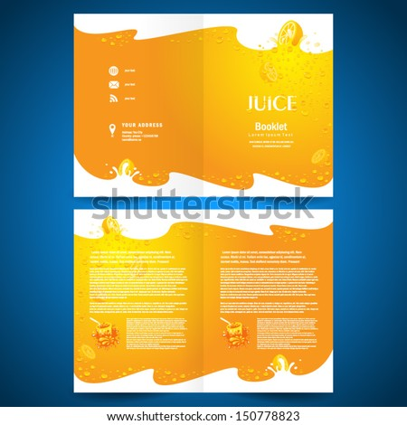 booklet catalog brochure folder juice fruit drops liquid orange background - stock vector
