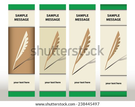 Bookmark designs with quills - stock vector