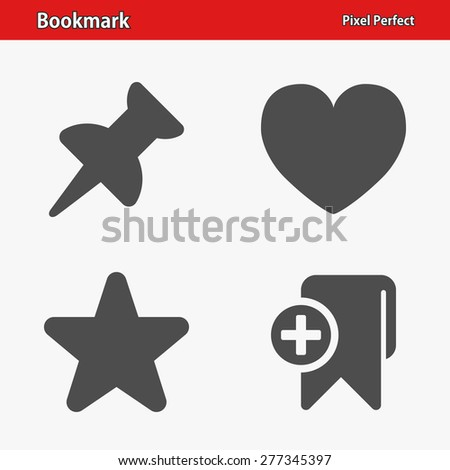 Bookmark Icons. Professional, pixel perfect icons optimized for both large and small resolutions. EPS 8 format. Designed at 32 x 32 pixels. - stock vector
