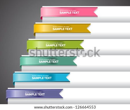 Bookmark labels, stickers or indicators on the edge of a page. - stock vector