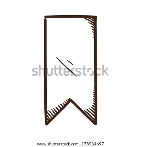 Bookmark ribbon. Sketch symbol isolated on white. - stock vector