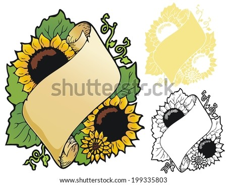 Bookplate style scroll with sunflowers - stock vector