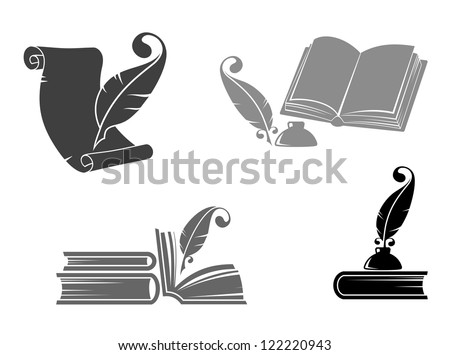 Books and quills icons for education design. Jpeg version also available in gallery - stock vector