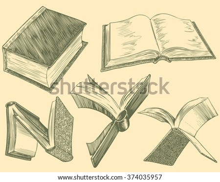 Books. Design set. Hand drawn engraving. Vector vintage illustration. Isolated on color background. 8 EPS - stock vector