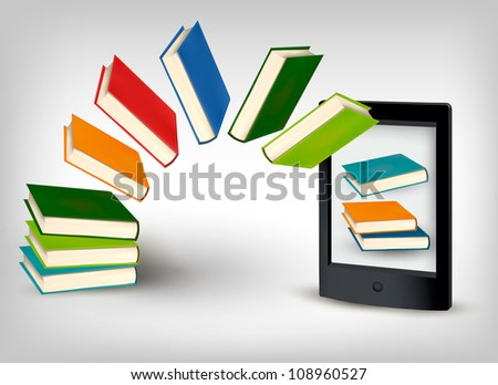 Books flying in a e-book. Vector illustration. - stock vector