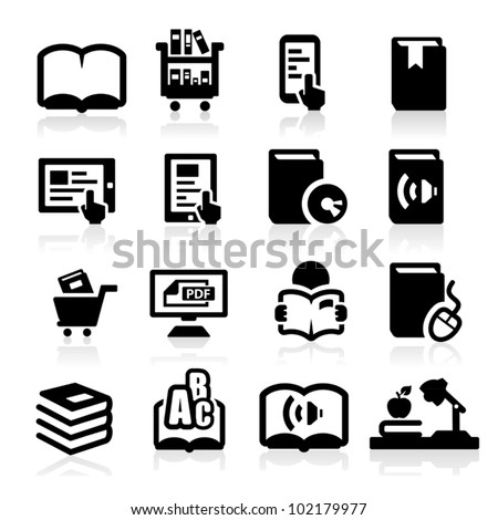 Books icons set Elegant series - stock vector