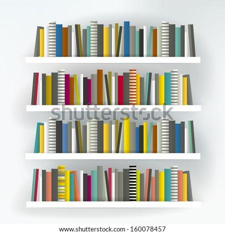 Books on the shelf. Modern minimalistic furniture. Vector background. - stock vector