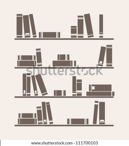 Books on the shelf vector retro illustration. Vintage library objects for decorations, background, textures or interior design wallpaper. - stock vector
