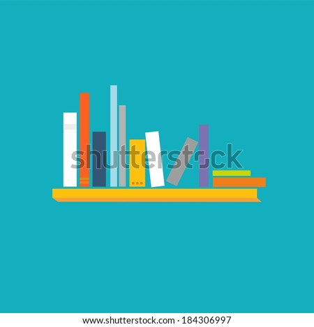 Books on the shelves - vector abstract illustration - stock vector