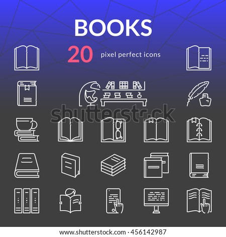 Books outline icon set of 20 thin modern stylish pixel perfect icons. White line version. - stock vector