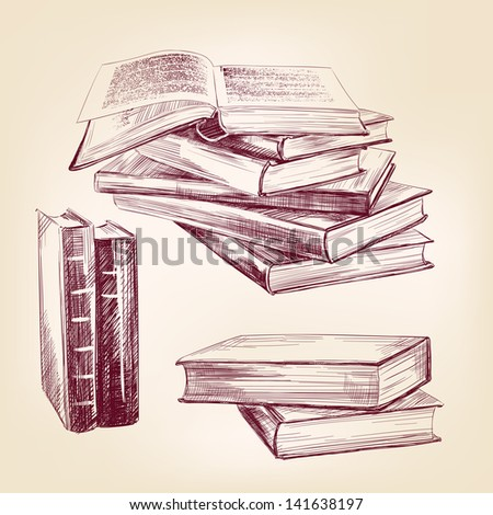 books set hand drawn vector llustration realistic sketch - stock vector