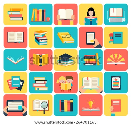 Books set in flat design style, isolated, vector illustration. Icons set includes opened book, books stack, person reading book, e-book etc. - stock vector