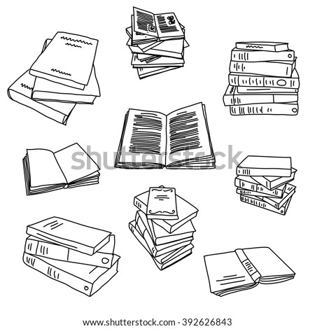 Books sketch doodle illustration icon background - stock vector