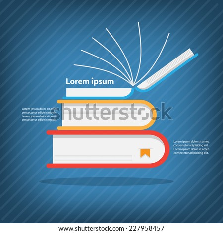 Books stack,Colorful vector design for workflow layout, diagram, number options, web design, presentation template, infographics. - stock vector