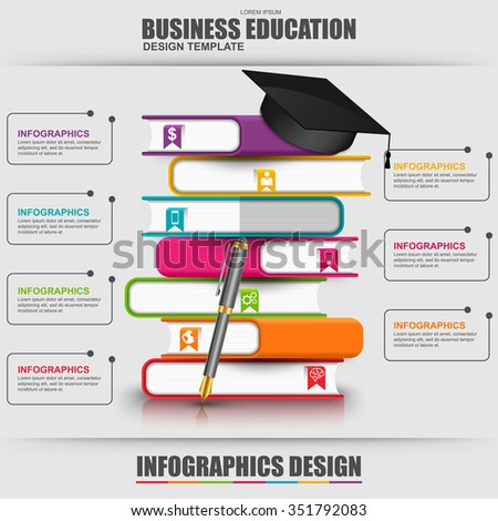 Books step education infographic vector design template. Can be used for e-learning concept, workflow processes, banner, poster, book concept, marketing, e-store banner, library books, bookstore. - stock vector